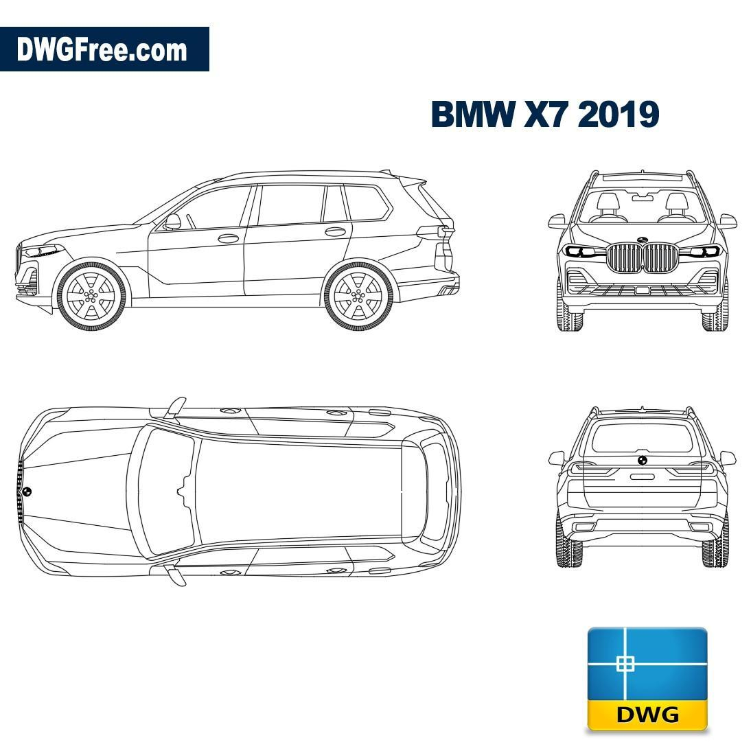 Bmw X7 2019 Dwg Autocad Blocks Free Download Dwg 2d