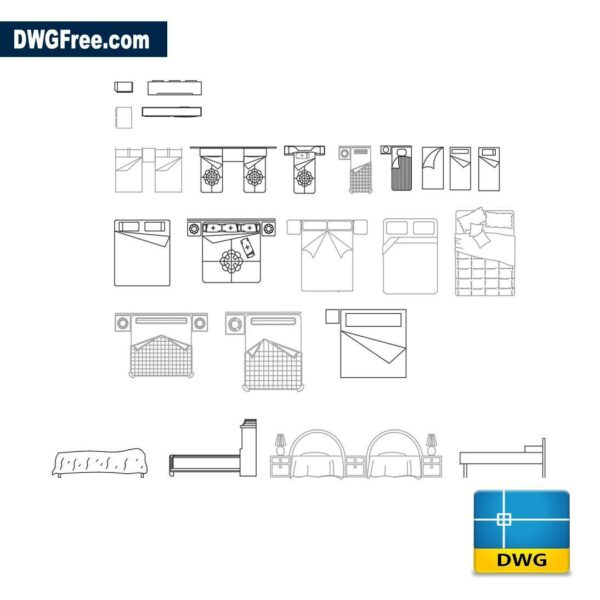 Bedroom furniture dwg autocad