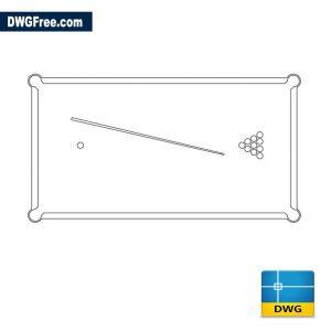 Billiards table top view dwg autocad
