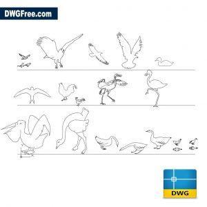 Birds dwg cad blocks