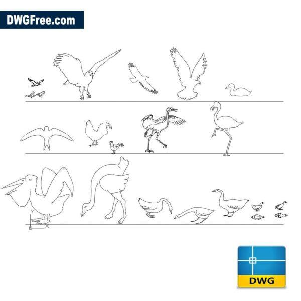 Birds dwg cad blocks