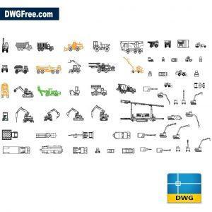 Construction vehicles dwg cad blocks