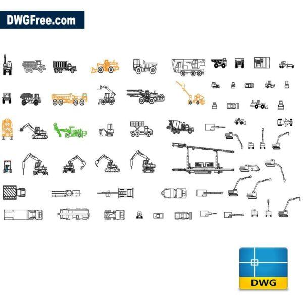 Construction vehicles dwg cad blocks