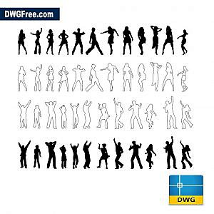 Dancing people dwg cad blocks