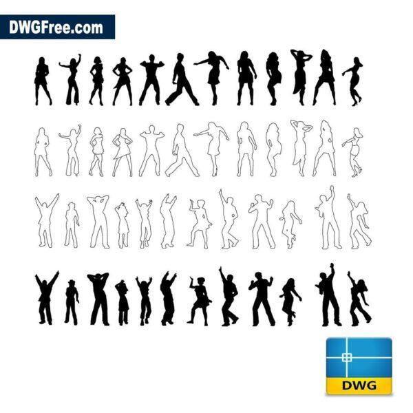 Dancing people dwg cad blocks