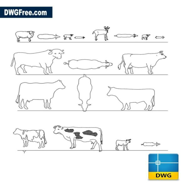 Domestic animals dwg cad blocks