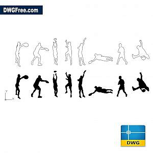 Frisbee people dwg cad blocks