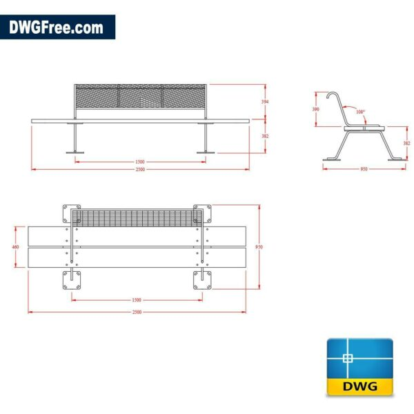 Garden benches dwg cad blocks