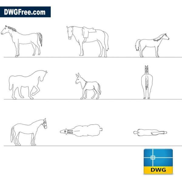 Horses dwg cad blocks