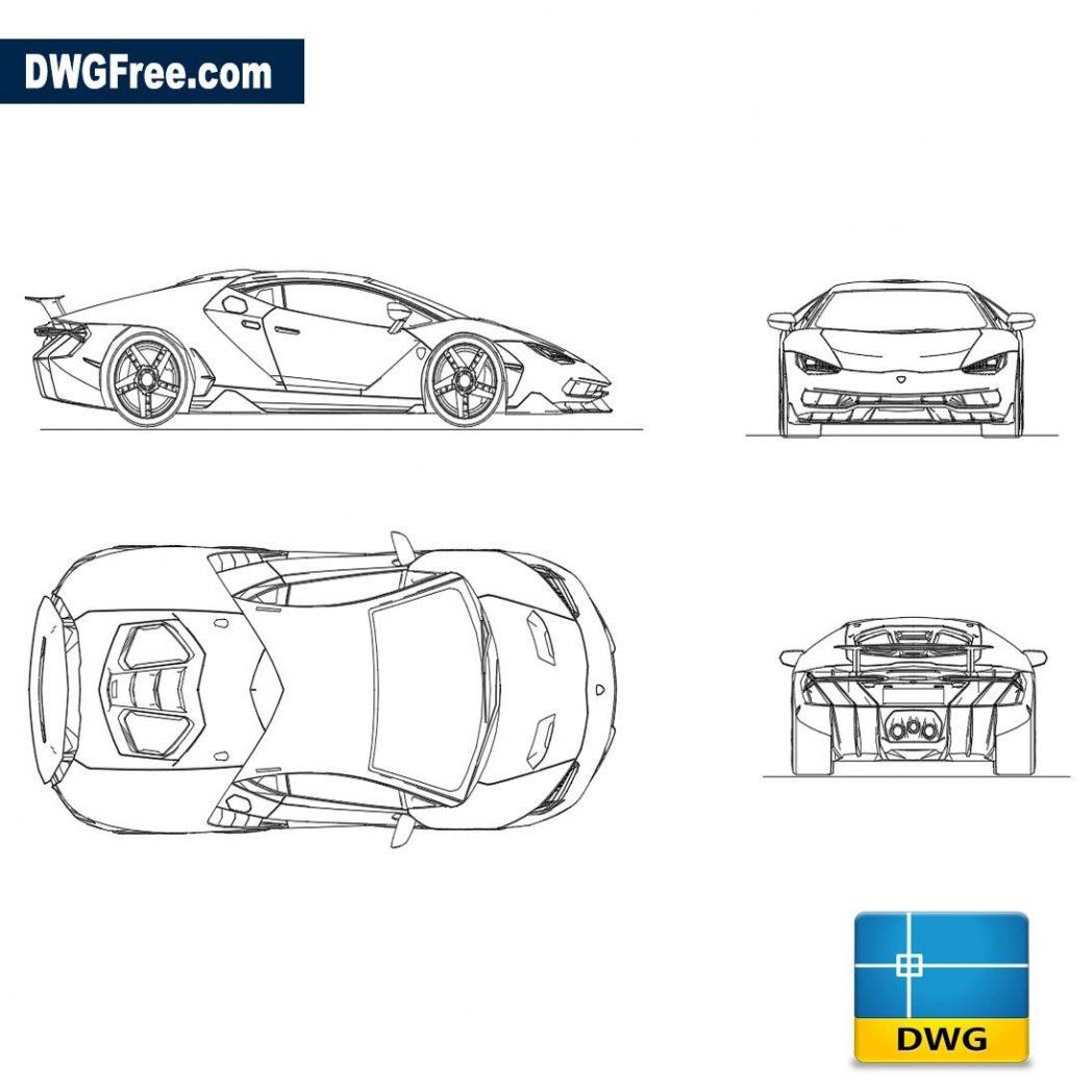 Lamborghini Centenario Dwg Free Dwg 2d Model Cad Blocks