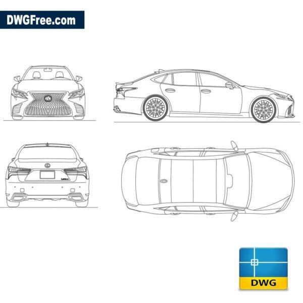 Lexus LS 500h 2019 dwg cad blocks