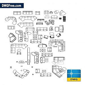 Living room furniture dwg autocad