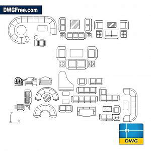 Living room set dwg cad blocks