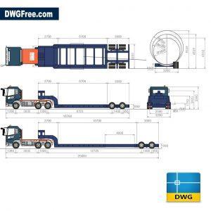 Lowboy trailers dwg cad
