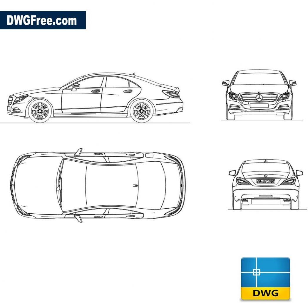 Mercedes Benz CLS 350 – Autocad blocks free download DWG 2D