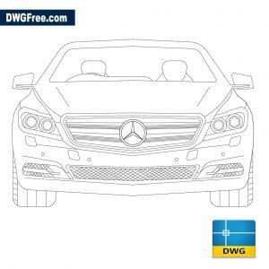 Mercedes Benz front view dwg cad