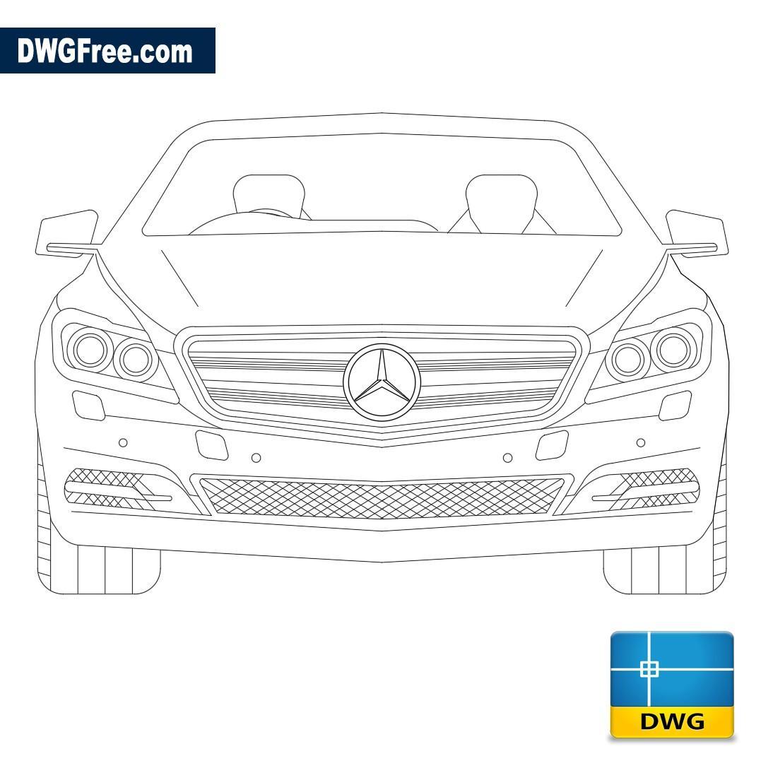 Mercedes Benz Front View Dwg Free Dwg 2d Model Cad Blocks