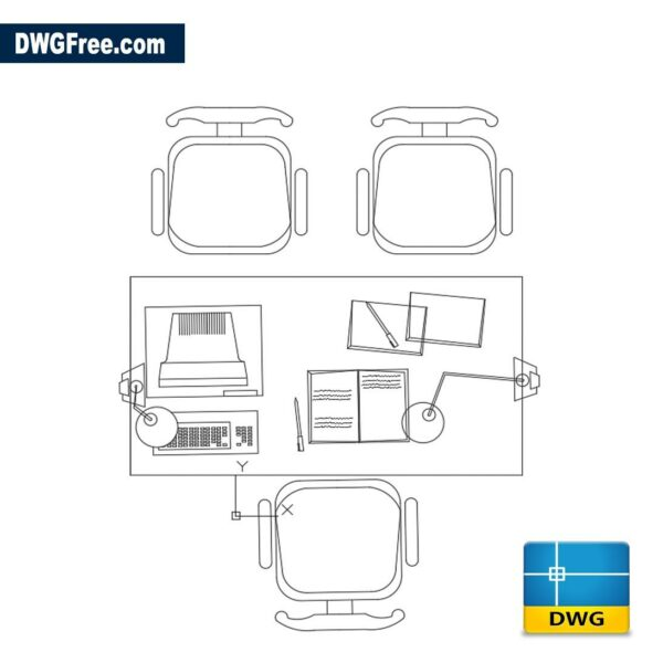 Office furniture 2D dwg