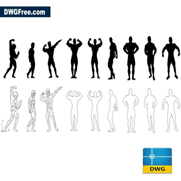 People Bodybuilding dwg cad blocks