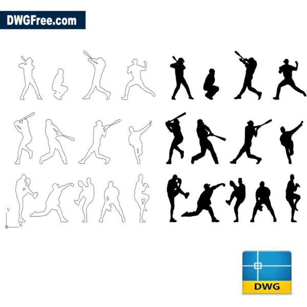 People baseball dwg cad blocks