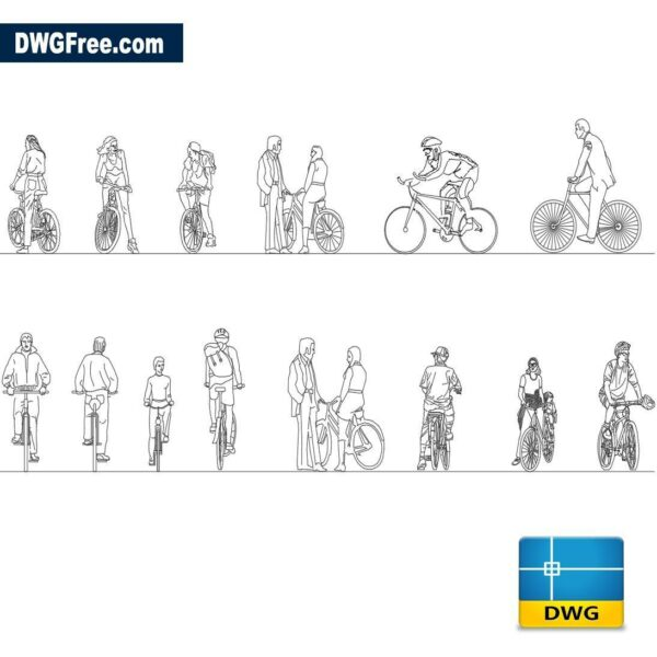 People cyclists dwg cad blocks