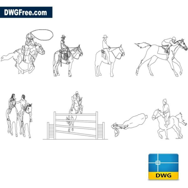 People equestrian sport dwg cad blocks