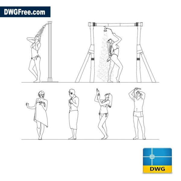 People have a shower dwg cad
