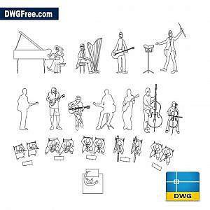 People musicians dwg cad blocks