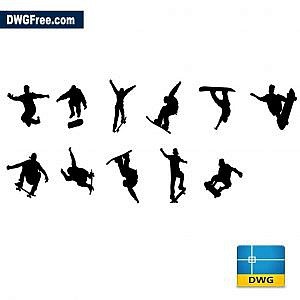 People skateboarders dwg cad blocks