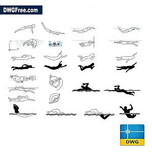 People swimming dwg drawing 2d models