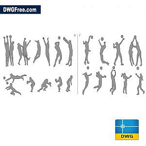 People volleyball dwg cad blocks drawing