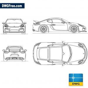 Porsche Cayman GT4 dwg autocad