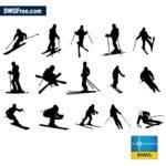 Skiers dwg cad blocks