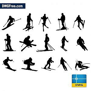 Skiers dwg CAD Drawing Blocks
