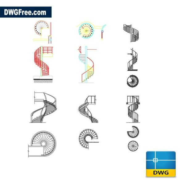 Spiral Stairs dwg cad blocks