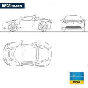 Tesla Roadster 2010 dwg cad blocks