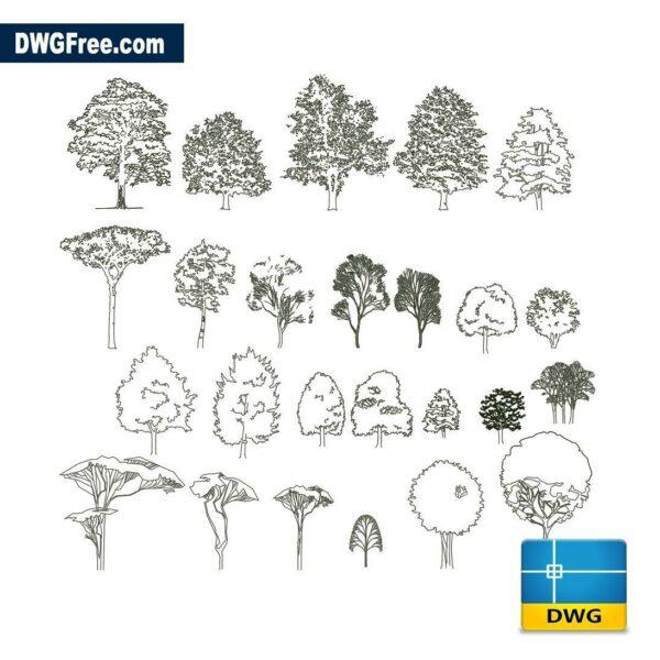 deciduous trees dwg autocad