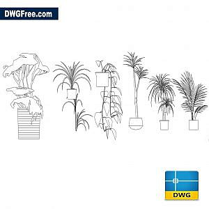 exotic flower pots dwg autocad