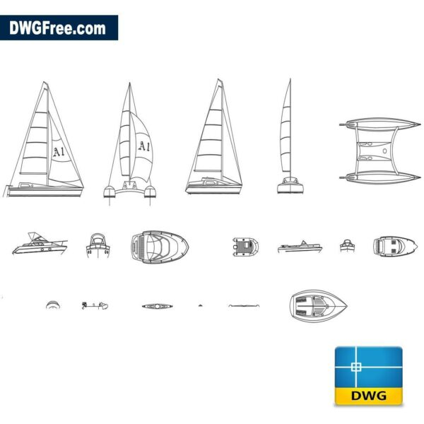 motor boats dwg cad blocks