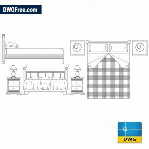 2d double bed dwg cad