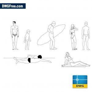 Beach humans dwg cad
