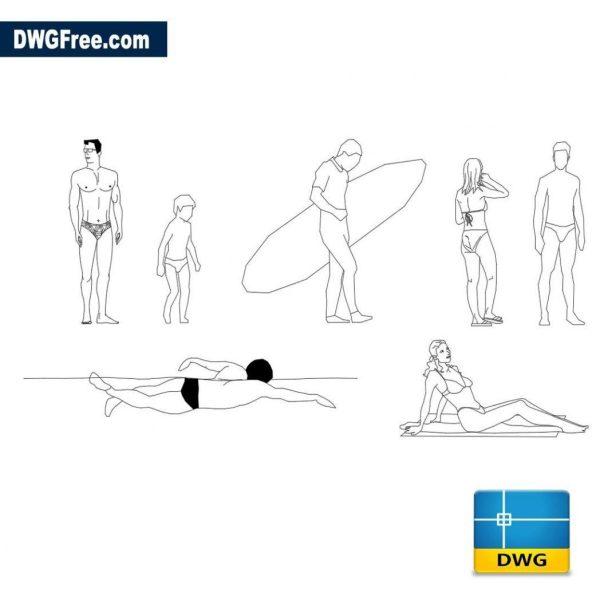 Beach humans dwg cad