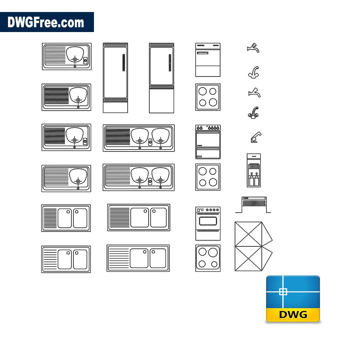 Blocks kitchen DWG - Download Autocad Blocks Model. AutoCad