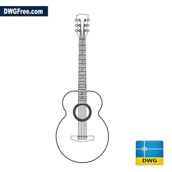 Classic guitar dwg cad
