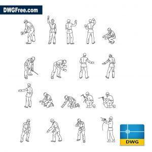 Construction workers dwg cad