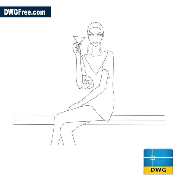 Girl sitting dwg cad