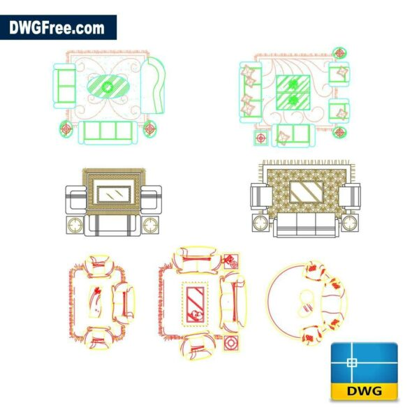 Living rooms dwg cad