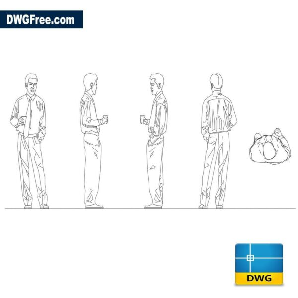Man with glass dwg cad