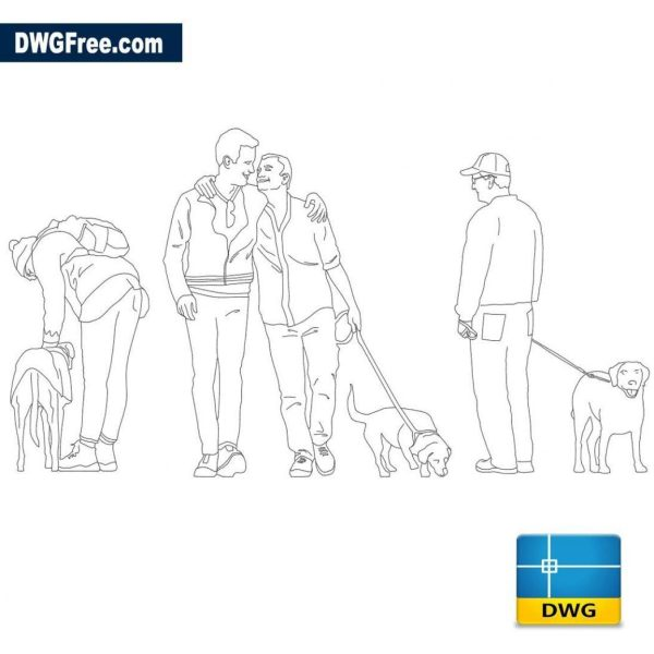 Peoples with Animals dwg cad