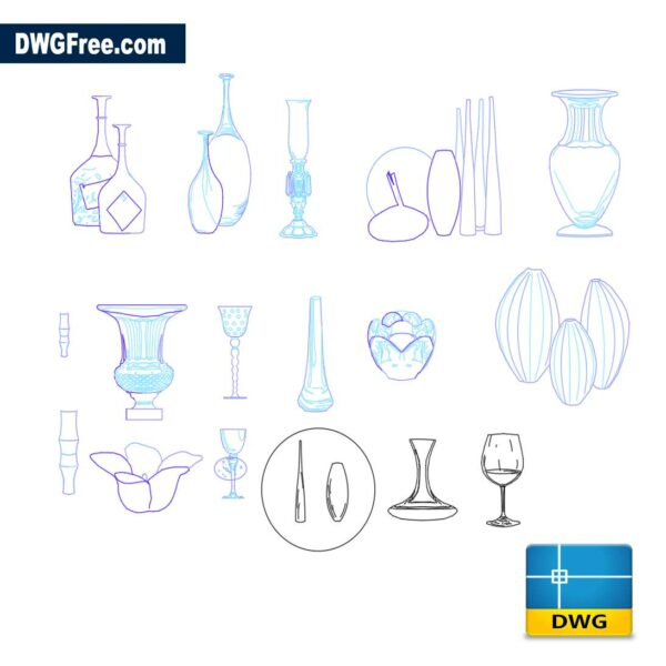 Vases dwg cad